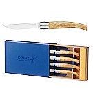 Table Chic Box Set of 4 Steak Knives (Mirror Finish Blade) 10cm - Olive Wood